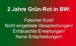 Banner Bilanz nach 2 Jahren Grün-Rot: Falscher Kurs, nicht eingelöste Versprechungen, enttäuschte Erwartungen, keine Entscheidungen!