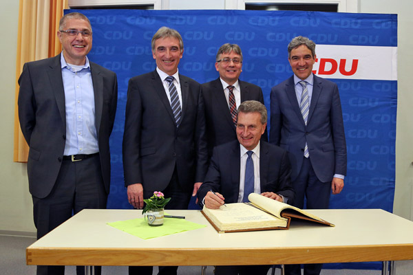 EU-Kommissar Günther H. Oettinger in Dielheim-Horrenberg.